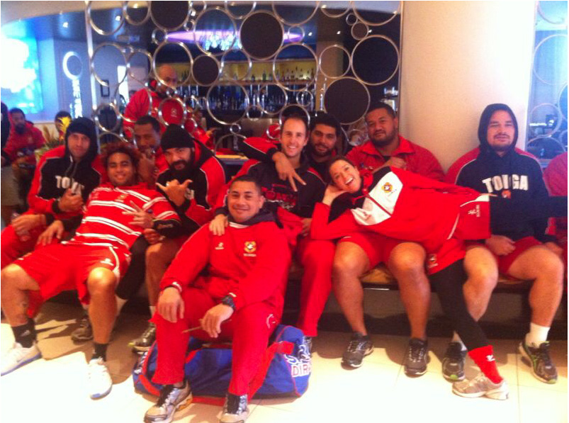 Just before training waiting for bus in Cardiff with Tonga Ikale Tahi team.